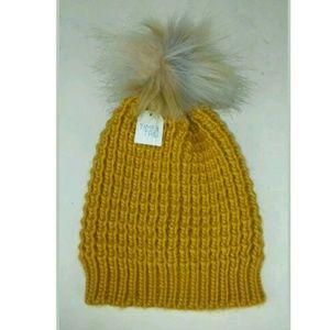 Waffle Knit Beanie Hat Faux Fur Pom Pom Yellow